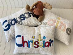 Applique Pillows, Unique Baby Shower Gifts, Machine Applique, Motivational Words, Satin Stitch, Pillow Forms, Child's Room, Choices, Kids Room