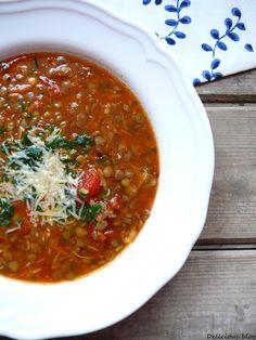 Delicious blog: Italská čočková polévka New Menu, Soup Recipes, Salsa, Good Food, Cooking, Ethnic Recipes, Soups, Blog, Crochet