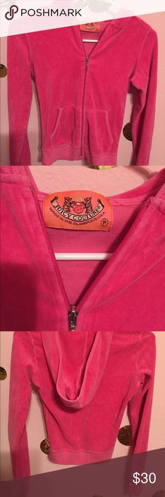 Juicy couture velour hoodie Excellent condition, could be for a girl or very petite woman.pretty in pink Juicy Couture Jackets & Coats