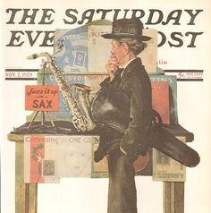 Jazz It Up With A Sax Norman Rockwell  by HeatherwoodArtPrints, $9.50