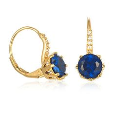 Gold Plated Silver Lever Back Synthetic Blue Spinel Earring ** You can find more details by visiting the image link.