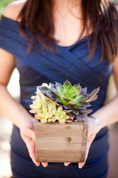 succulents in wood box - 43 best wine themed wedding ideas