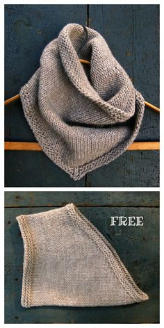 knitting for beginners Quick Knit Bandana Triangle Cowl Free Knitting Patterns - Knitting Pattern Knitting Stitches, Knitting Patterns Free, Knit Patterns, Free Knitting, Baby Knitting, Free Pattern, Stitch Patterns, Outlander Knitting Patterns, Hand Knitting Yarn