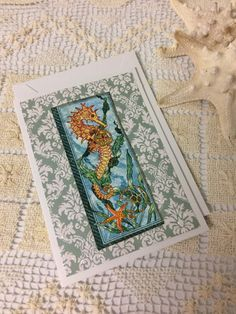 Seahorse card, Beachy Mixed Media Notecard, Greeting card, Birthday card by LovePlanetJanet on Etsy