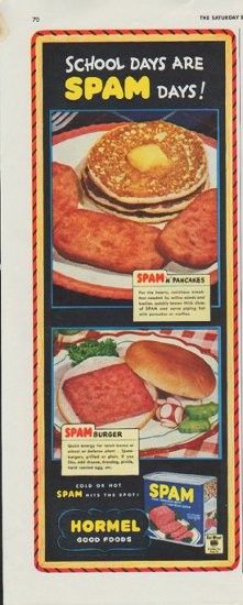 Description 1942 HORMEL vintage print advertisement School Days Are Spam Days Cold or Hot Spam Hits The Spot Hormel Good Foods Size The dimensions of the halfpage adver. Old Advertisements, Retro Advertising, Retro Ads, Vintage Ads, Retro Food, Vintage Food, Vintage Posters, Retro Recipes, Vintage Recipes