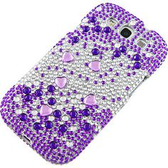 #Rhinestones Protector Case for #Samsung Galaxy S III, Purple Silver Gems Full Diamond $14.99 From #DayDeal
