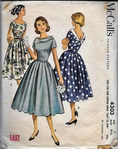 Vintage 1950s McCall's 4303 Evening Dress Sewing Pattern Size 11 Bust 31.5 Full Skirt Rockabilly by VintagePatternStore on Etsy