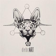 #dotwork of a #sphynx cat! www.facebook.com/debrartist