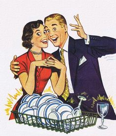 Delighted Dishwashers...who else thinks the fake plastered smiles on both of their faces is MORE than creepy?!