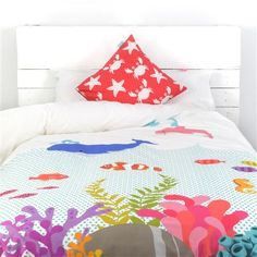 Little w Under The Sea Single Duvet Cover and Square Cushion Cover Set