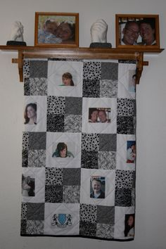 Sharing family memories on a picture quilt is a special way to display your love.  This quilt was easy to make using transfer fabric sheets and printing the pictures right on the fabric.  The result was this memory book quilt.