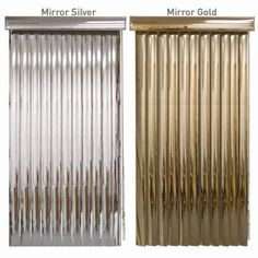 BlindDen Mirror Vertical Blind with 3 wide vinyl vanes is available in 2 reflective colors, Silver and Gold.