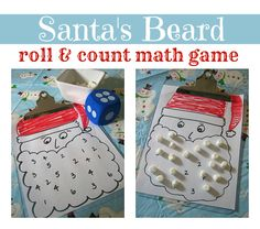Santa Math Game. 2+ players. Matherials needed: Game board with numbers 1-6 on it (can make and use Santa's, flowers, etc), game markers (they used marshmallows, could use candy corn, foam shapes, etc), dice. Roll the die and cover up the numbers that appear on the die. Object: be the first to cover all the numbers with the game pieces.