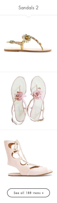 """""""Sandals 2"""" by alina-chipchikova ❤ liked on Polyvore featuring shoes, sandals, flat leather sandals, nude sandals, embellished flat sandals, sling back sandals, nude slingback shoes, none, pink baby shoes and chanel sandals"""