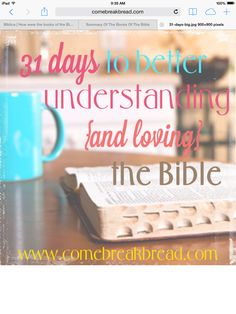 31 days to better understanding the bible. >> www.comebreakbread.com >> an awesome blog about learning to read/understand/interpret the bible along with its history and literature background. Think you know the bible? Check out this site