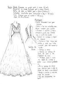 Sugestão de tecido e montagem do vestido com decote nas costas.