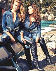 Fashion Moda, Denim Fashion, Fashion Boots, Denim Guess, Modelos Guess, Thigh High Boots Heels, Knee Boots, Campaign Fashion, Elegantes Outfit