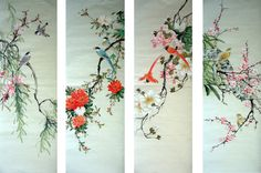 Chinese Birds four screens painting by Chen Shaohua