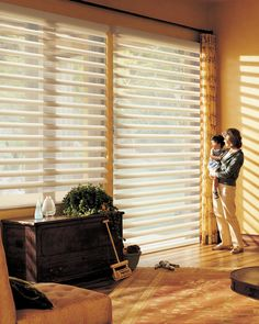 A brilliant yet functional energy efficient solution to harness heat and light so they work for you and your family. Pirouette® window shadings ♦ Hunter Douglas window treatments #LivingRoom