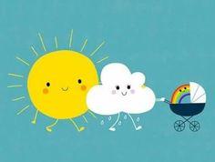 Imagen de sun, rainbow, and clouds