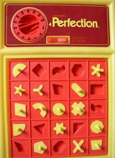 Action GT Perfection, 1981 - LOVED this game as a kid! If you didn't beat the clock, the red middle bit would spring up and fling the shapes everywhere!!! That clock was very loud and my little heart would be thumping in the last few seconds as It wasn't easy to do in time!