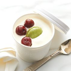 2 ALMOND MILK PARFAIT   Made with a combination of crème fraîche and almond milk, this parfait (similar to ice cream) is the perfect flavour partner for the delicate pistachio macaron and delicious Morello cherries that you find inside. The Morello cherries have been prepared in Kirsch (known as Groittines in France) and makes an elegant flavour profile that is sure to leave a lasting impression. Italian Cherries, Pizza One, Pesto Pizza, Wood Fired Oven, Creme Fraiche, Almond Milk, Sorbet, Cherry Tomatoes, Pistachio