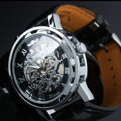 New Silver Leather Strap 6-Theme STEAMPUNK Skeleton Mechanical Men's Wrist Watch