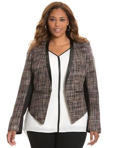 Boucle jacket with faux leather trim by Lane Bryant | Lane Bryant