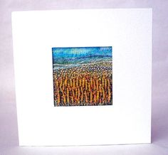 Beaded greeting card yellow flower meadow fabric by StitchMikki