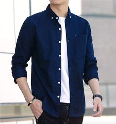 For that casual, well dressed look! Blue Shirt Outfits, Navy Dress Outfits, Boy Outfits, Navy Blue Shirts, Stylish Mens Outfits, Casual Outfits, Button Down Shirt Mens, Mens Fashion, Fashion Vest