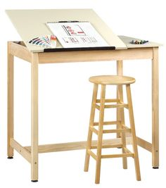 Features:  -Drawing table.  -Made in USA.  -Solid maple construction.  -Earth friendly UV finish.  Style: -Art.  Base Finish: -Maple.  Top Finish: -Almond.  Hardware Finish: -Zinc.  Base Material: -Wo