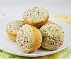"No-fat lemon poppy seed muffins. Pinner said, ""I switched the white flour for wheat, and used 4 egg whites instead of 2 eggs. I used unsweetened applesauce in place of the sugar and oil. Adds up to just under 100 cal per muffin, with ZERO fat, and 4.5 grams of protein."""