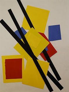 put pre-cut construction paper (primary colored squares and rectangles and long black strips for lines) at each table and showed the students how to practice arranging the shapes to make a composition and glue them in place.  I explained to the students that we were using the same elements as Mondrian but making unique pictures with them.