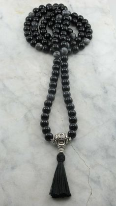OM Mala Black Agate and Fossil Agate Mala Beads Buddhist Prayer Beads, 108 Mala Beads, Grounding, Balance, Oneness, Free Shipping