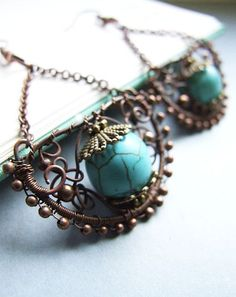 winter earrings  cold blue sea  amazing oxidized by KicaBijoux, $43.00