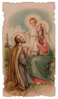 Jesus Mary and Joseph Vintage Die Cut Holy Card