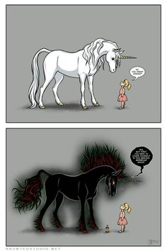 Unicorns Don't Sparkle by ~HaloGhost on deviantART. I'd rather have a unicorn that doesnt sparkle. Id train it to eat my enemies (i make theeee best bbq sauce on earth, so ill just make that for him/her for a little extra taste 😁) Cute Comics, Character Art, Fantasy Art, Creature Art, Evil Unicorn, Art, Unicorn Art, Cute Drawings, Mythical Creatures Art