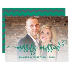 Merrily Married grey and emerald green Chevron Card - wedding invitations diy cyo special idea personalize card