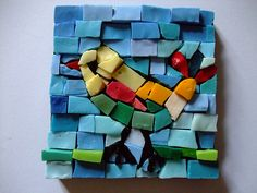 Mosaic bird. Use construction paper squares for kids.