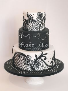 Black white lace wedding cake
