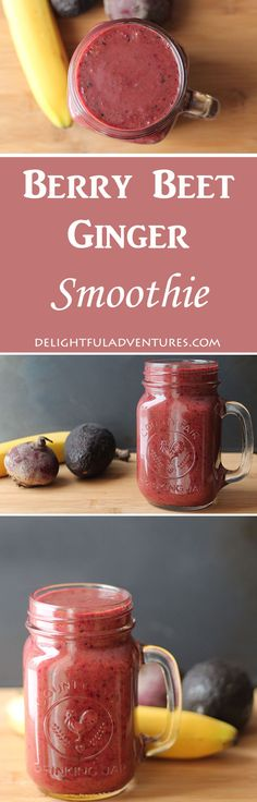 Nutritious Snack Tips For Equally Young Ones And Adults Kick-Start Your Day With This Berry, Beet, Ginger Smoothie A Healthy Blend Of Fruits, Vegetables With A Zing From Fresh Ginger. Smoothie Proteine, Ginger Smoothie, Vegan Smoothies, Fruit Smoothies, Vegetable Smoothies, Yummy Drinks, Healthy Drinks, Healthy Eating, Clean Eating