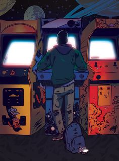 Johnny Dombrowski — American Way: Game On - Gamer House Ideas 2019 - 2020 Arcade Room, New Retro Wave, Vintage Video Games, Vintage Games, Pop Art Wallpaper, Retro Videos, Gaming Wallpapers, Video Game Art, Retro Art