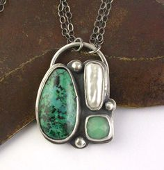 Pendant | Laura Pacino.  Sterling silver, Chrysocolla, pearl and Chrysoprase.