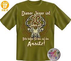 1805 Shirt XL oliv Dieser Jäger ist 50 Jahre alt +Button Happy Birthday - T-Shirts mit Spruch | Lustige und coole T-Shirts | Funny T-Shirts (*Partner-Link)