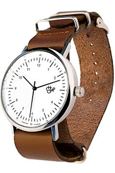 Amazon.com  Cheapo Harold Brown White Wrist Watch w  Brown Leather Band   Watches 991a132cc4c