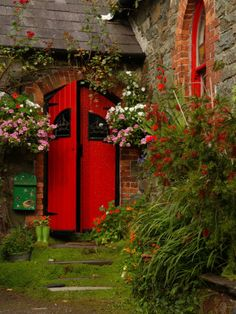 Ireland, Kinsale, County Cork An Your own words are the bricks and mortar of the dreams you want to realize. Your words are the greatest power you have. Love the bright red door, might do this for the inside of my bedroom door Cool Doors, Unique Doors, When One Door Closes, Windows And Doors, Red Doors, Black Doors, Garden Gates, Garden Doors, Secret Garden Door