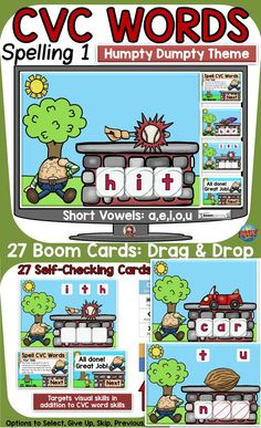 The 27 Nursery Rhyme (Humpty Dumpty) themed Boom Digital Cards will reinforce students' understanding of spelling CVC short vowel words. This is set 1 in the CVC spelling series. It targets students' visual skills in addition to their knowledge of spelling CVC short vowel words. Jolly Phonics, Teaching Phonics, Nursery Rhyme Theme, Nursery Rhymes, Phonemic Awareness Activities, Compound Words, Social Studies Resources, English Reading, Word Sorts