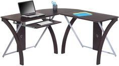 Modern Computer Desk Espresso Finish L Shaped Metal Tempered Glass Furniture New #OfficeStarProducts #Modern #Desk #Furniture #Home #Office