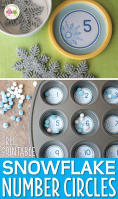 Looking for winter math activities for your kids? Try these snowflake number circles. Use the free math printables in muffin tins or use them to make counting containers. Many ideas are included for counting, number sense, and even basic addition. Kindergarten Lesson Plans, Preschool Math, Kindergarten Activities, Preschool Winter, Maths, Number Sense Kindergarten, Winter Fun, Winter Theme, Snow Theme