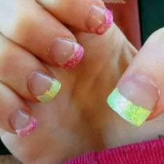 my gel nails - hot pink & lime green! <3 by Shaunna Leblanc-Nickerson